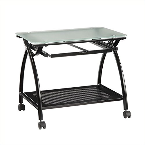 Tempered Glass File Cabinet (Office Star Newport Black Powder Coated Steel Frame Mobile File Holder with Frosted Tempered Glass Top)