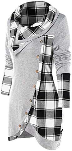 Blouse Women Plus Size Cowl Neck Singlet Long Sleeve Plaid Turtleneck Tartan Tunic Sweatshirt Pullover Tops
