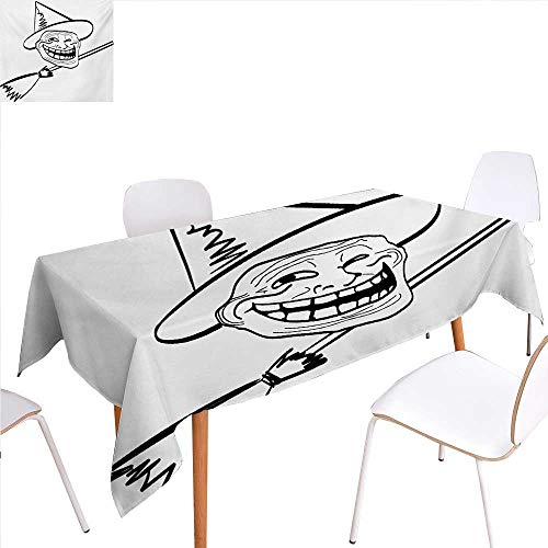 familytaste Humor Washable Tablecloth Halloween Spirit Themed Witch Guy Meme LOL Joy Spooky Avatar Artful Image Print Waterproof Tablecloths 52