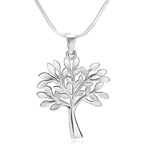 925 Sterling Silver Tree of Life Symbol Charm Pendant Necklace, 18 inch Snake Chain - Open Filigree Designer Pendant Charm