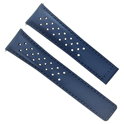 Leather Band Strap 22MM for TAG HEUER Monaco CAW2111.FC6183 Calibre 12 Blue 4T (Strap Heuer Original Tag)