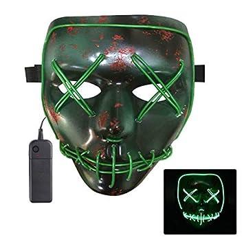 Oun Nana Halloween Led Mask Light Up Purge Mask for Halloween Costume Cosplay