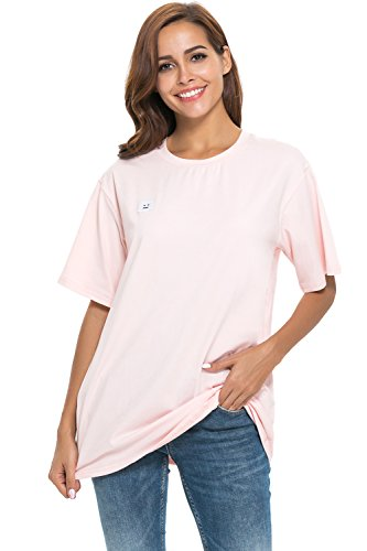 (APRLL Women Loose Short Sleeve Oversized T Shirt Boyfriend Casual Tops)