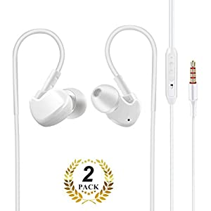 [2 Pack] All Cart In-Ear Wired Stereo Headphones with Mic and Remote, Sport Sweatproof Workout Earphones For IPhone And Android Device