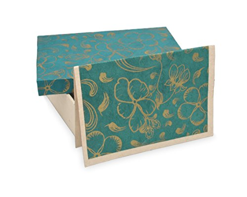 Nepali Cherish Greeting Card & Envelope Box Set with Handmade Lokta Paper from Nepal, 15 Cards (Handmade Note Card Set)