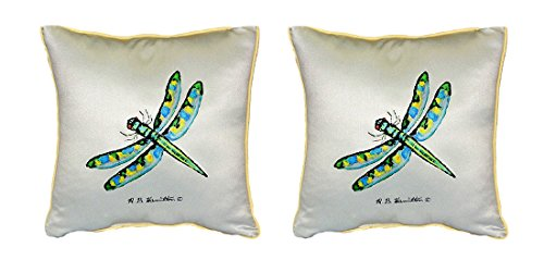 Pair of Betsy Drake Dragonfly Small Outdoor/Indoor Pillows 12 Inch X 12 Inch price