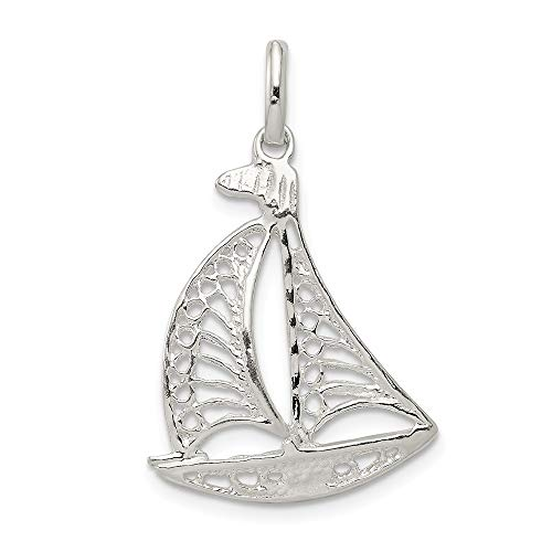 (Solid 925 Sterling Silver Pendant Filigree Sailboat Charm (25mm x)