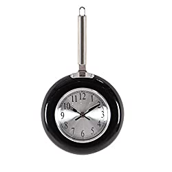 Deco 79 98435 Black Iron Frying Pan Wall Clock, 14 x 8, Silver