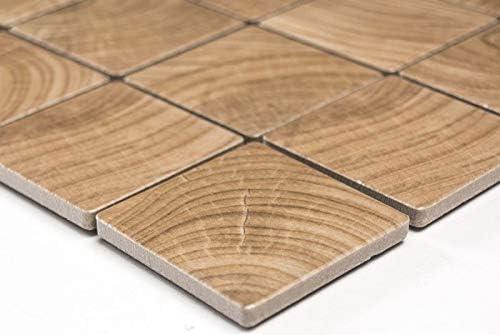 Mosaikfliese Holzoptik wooden Keramik beige braun Fliesenspiegel MOS16-1304