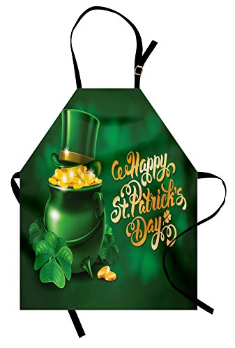 Ambesonne St. Patrick's Day Apron, Large Pot of Gold Leprechaun Hat and Shamrocks Greetings 17th March, Unisex Kitchen Bib Apron with Adjustable Neck for Cooking Baking Gardening, Gold and Emerald -