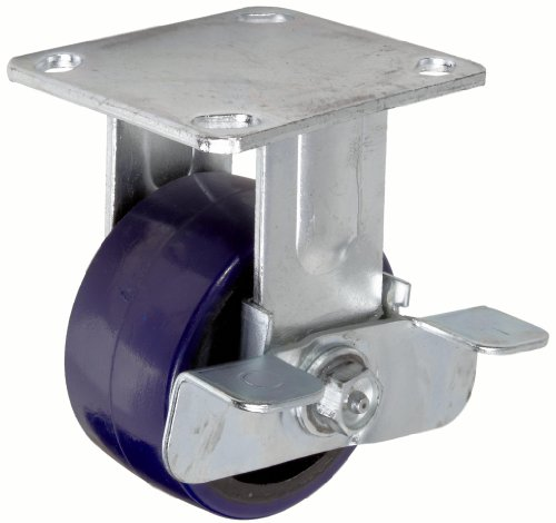 """RWM Casters 46 Series Plate Caster, Rigid with Brake, Urethane on Iron Wheel, Roller Bearing, 700 lbs Capacity, 4"""" Wheel Dia, 2"""" Wheel Width, 5-5/8"""" Mount Height, 4-1/2"""" Plate Length, 4"""" Plate Width from RWM Casters"""