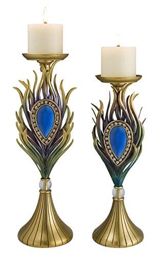 OK Lighting Peacock Plume Candleholder Set -