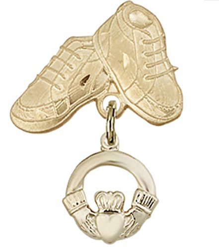 Beautiful Gold Filled Baby Badge with Claddagh Charm and Baby Boots Pin Gift Boxed by Religious Faithful Gifts