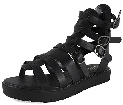 LoudLook New Womens Ladies Open-Toe Buckle Straps Low Heel Shoes Sandals Casual Size 3-8 UK Black IyIaB
