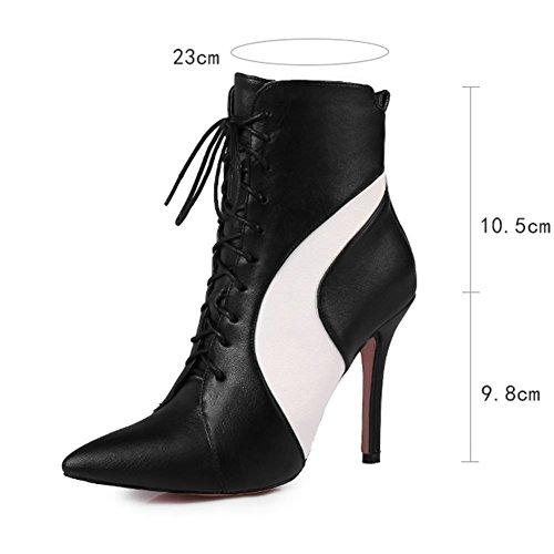 KingRover Womens Sexy Ankle Boots High Heel Stiletto Heel Leather Short Boots Black XhGMKFzZ