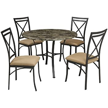 Amazon Com Dorel Living Faux Marble Top Dining Table Set