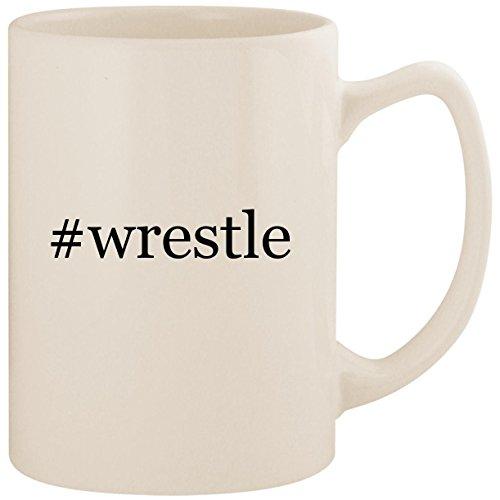 (#wrestle - White Hashtag 14oz Ceramic Statesman Coffee Mug Cup)