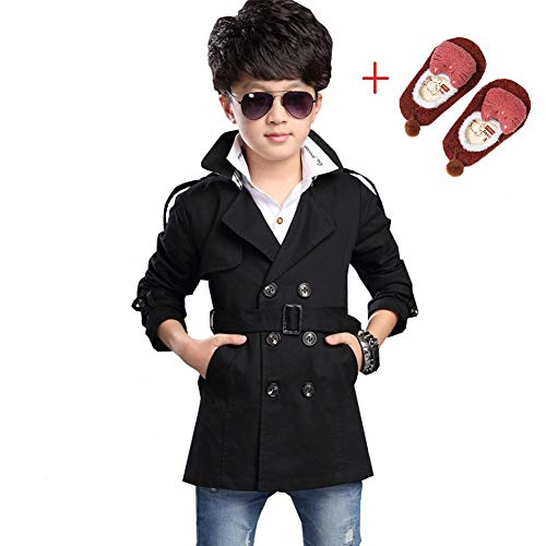 LSERVER Boys Long Sleeve Double Breasted V-Neck Trench Coat Middle Length Windbreaker Jacket Black -