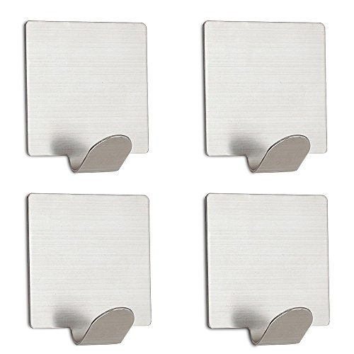 Ambielly Adhesive Hooks, Stainless Steel Waterproof Self Adhesive Hooks Wall Hooks for Jewelry Organizing, Hat Hooks, Coat Hook(Pack of 4) (002)