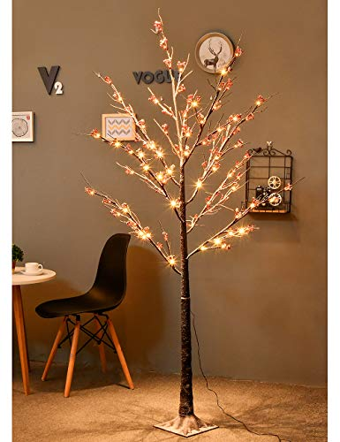 Bolylight 6FT 96 LED Snow Flower Tree Artificial Decorations for Home/Bedroom/Office/Party/Wedding/Festival/Christmas Indoor and Outdoor Warm White from Bolylight