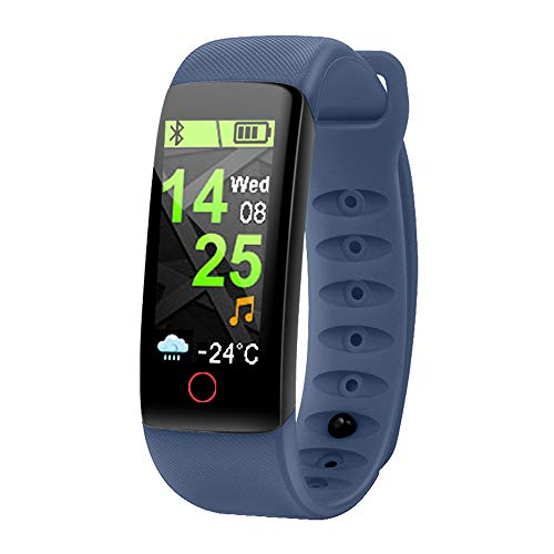 ZUKN Smart Bracelet IP67waterproof Fitness Tracker Blood Pressure Blood Oxygen and Heart Rate Monitor with Music Control Health Report Smart ()