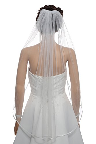 1T 1 Tier 1/4″ Ribbon Edge Wedding Veil – Ivory Fingertip Length 36″ V522