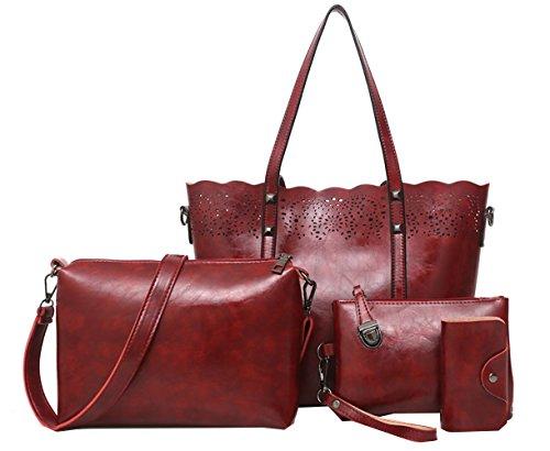 Juilletru 4 Pcs Women's Tote Bags Leather Handbags Top Handle Vintage Purse Crossbody Shoulder Bag Set (Wine Red 2)