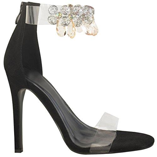 à bride suède transparent brides Sandales en cheville noir talons plexiglas bijoux avec Faux aiguilles 6gd7BCqxw
