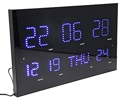 Slim amp large metal amp glass digital clock jumbo display with slim amp large metal amp glass digital clock jumbo display with blue led light aloadofball Image collections