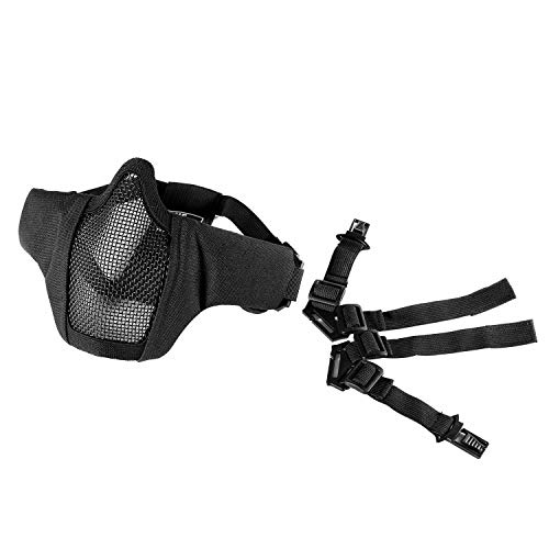 """OneTigris 6"""" Foldable Half Face Mesh Mask Military Style Comfortable Adjustable Tactical Lower Face Protective Mask (Black with Helmet Attachment Strap)"""