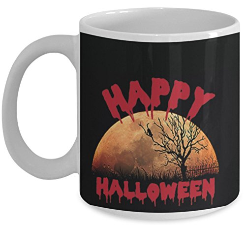 All Hallows Eve Mug (11 oz)\ Happy Halloween, With Image \ Mugs With Quotes and Sayings by Vitazi Kitchenware, Ceramic Coffee Mug - Spooky Moon (White) -