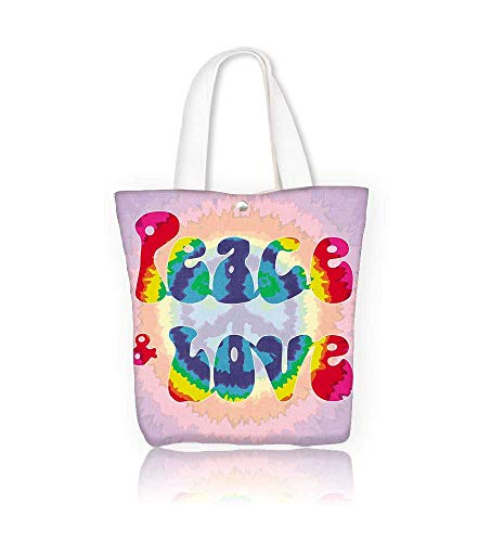 Ladies canvas tote bag Peace & Love Hippie style reusable shopping bag zipper handbag Print Design W23xH14xD7 INCH