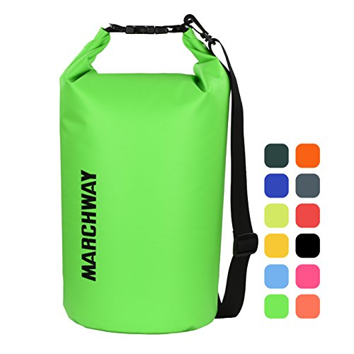 Dry Bag 5L/10L/20L/30L/40L, Roll Top Dry Sack for Marine Kayaking Rafting Boating Surfing Swimming Camping Hiking Beach Fishing Skiing Snowboarding Mountaineering (Green, 10L) (Green Fishing Accessories)