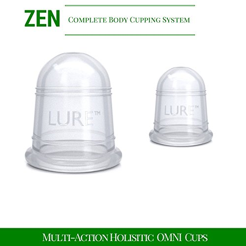 Cupping Massage Set - The Most Preferred & Recommended Complete Chinese Therapy, Pain Relief & Cellulite Treatment - Best Gift and Quality in Class - EASY to Use Professional Grade - 2 Cups
