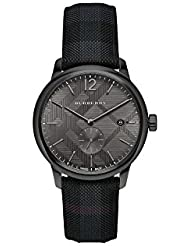 Burberry Mens BU10010 Check Stamped Round Dial Watch, 40mm