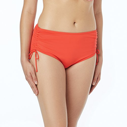 Beach House Women's Hayden High Waisted Bikini Swimsuit Bottom with Adjustable Side Ties, Beach Solids Sunset Coral, 12