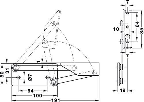 Plattengewicht bis 8 kg Stahl chromatiert Gedotec/® Esquina Banco Bisagra/ /Consola Tapa Soporte para Placas de Asiento de Madera con Muelle