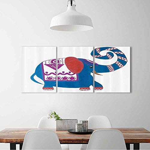 3 Panel Wall Art Set Frameless Carto Elephant Nose Chevr Zig Zag Watercolor Effect Bathroom Accessories for the kitchen, dining room, living room, bar and so on W20