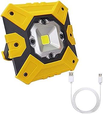 Portátil Luz de Trabajo LED 15W, USB Recargable Foco LED, 4 Modos ...