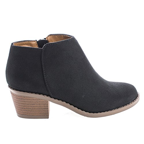 J. Adams Women's Black Suede Low Heel Western Ankle Bootie - 8 B(M) US