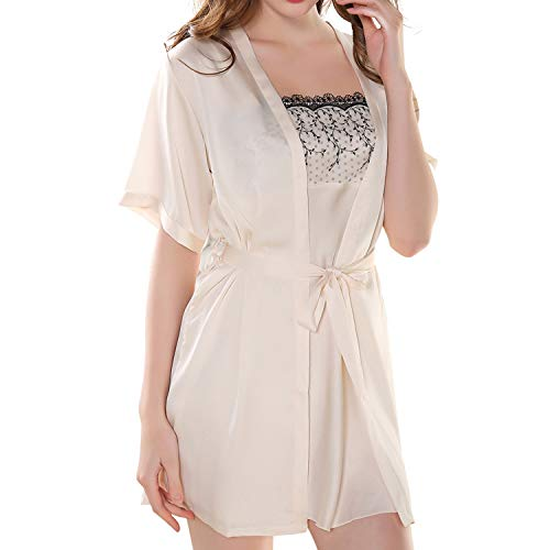 S~M Women's Lace Satin Silk Nightgown Robe with Full Slip Sexy Chemise Lingerie Pajamas Set Sleepwear Loungewear