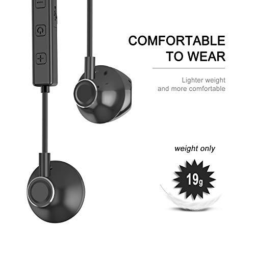Auricolari Bluetooth, Cuffie Bluetooth V4.1 Stereo Wireless Senza Fili Magnetiche con Microfono Auricolare Sport per Phone e Android Samsung Galaxy Note Huawei Xiaomi Sony (Nero) … (Q6-Nero)