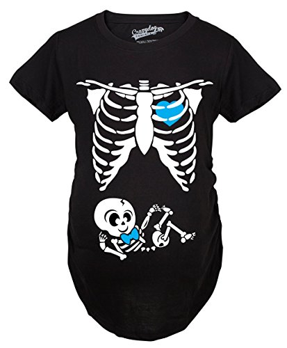 Crazy Dog T-Shirts Maternity Baby Boy Skeleton Cute Pregnancy Bump Tshirt (Black) -S