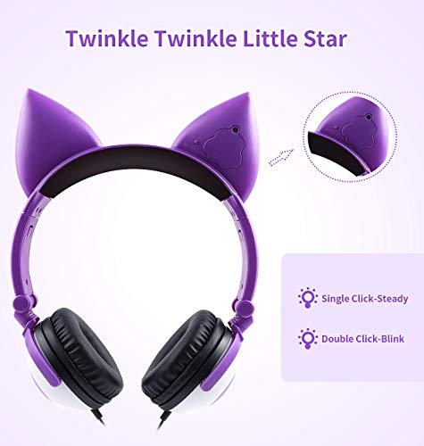 Lobkin Kids Headphones, Fox Ear Foldable Over Ear for Boys Girls, Adjustable 85dB Baby Volume Care Control Wired, LED Light Shiny Colorful Childrens for Online Class/Tablet/TV/PC/Phone Headphones
