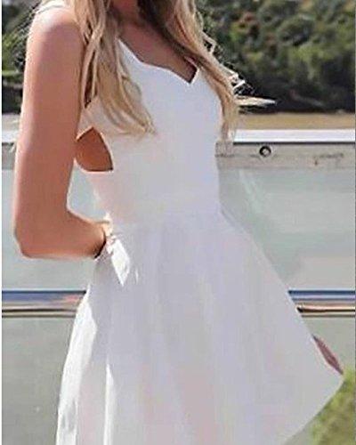 Mujer Verano Moda Vestido De Playa Hueco Patrón Mini Vestido Sin Mangas Clubwear Blanco