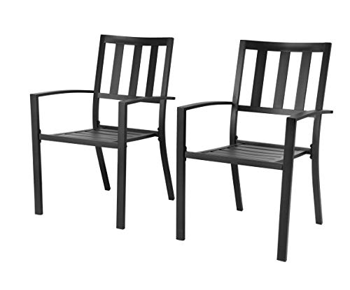 - EMERIT Patio Wrought Metal Indoor Outdoor Stackable Dining Arm Chairs Set of 2,Black