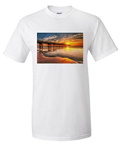 Panama City Beach, Florida - Pier and Sunset (White T-Shirt - Pier Park Panama City Florida