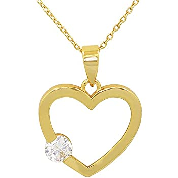 8f4fc993da In Season Jewelry 14k Gold Plated Love Heart Clear Crystal Pendant Necklace  19