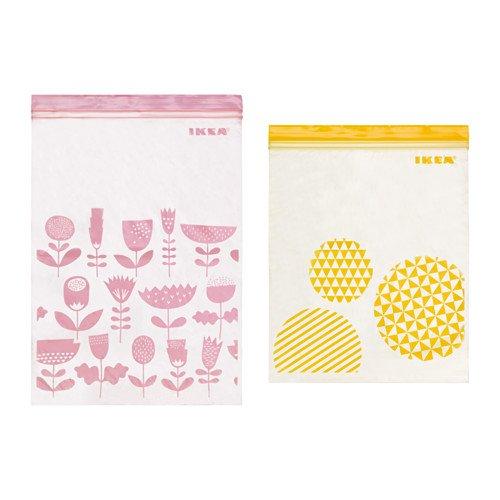 イケア プラスチック袋 アソートカラー(ピンク&イエロー)