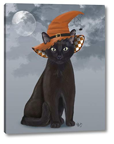 """Halloween Black Cat in Witches Hat by Fab Funky - 15"""" x 19"""" Gallery Wrapped Giclee Canvas Print - Ready to Hang"""